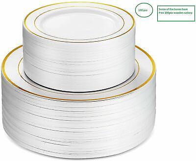 Gold Plastic Silverware (100 Pieces Gold Rim Disposable plates plastic silverware| White plastic plates)