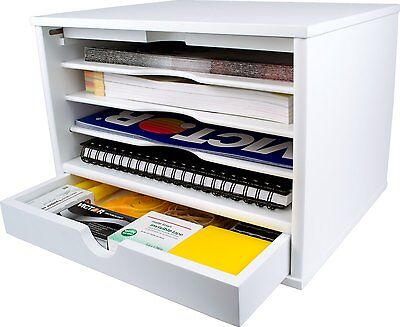 Organizer Desktop 4 Shelf Closing Door Office Desk Color Pure White Nice