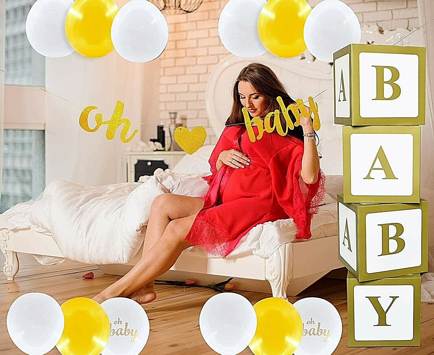 Baby Shower Decoration for Girl or Boy OH Baby Neutral Decoration Elegant Gold Greeting Cards & Party Supply