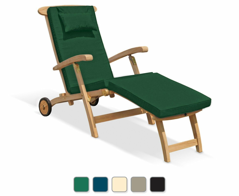 Serenity Reclining Garden Teak Steamer Chair Sun Lounger Wheels Free Cushion