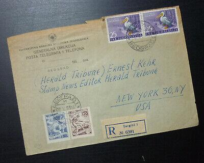 Serbia 1955 Cover Sent from Belgrade to USA - Bird Pelican Fauna AE2