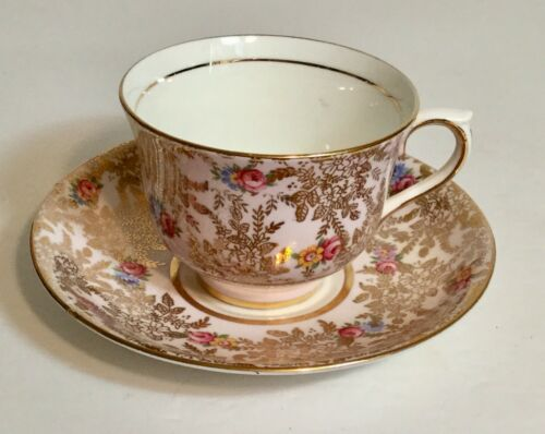 Vintage Colclough Pink Floral Gold Tea Cup and Saucer Set Longton England