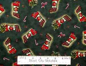 Quilting-Treasures-Christmas-Stocking-Candy-Cane-Pine-Green-Cotton-Fabric-Yard