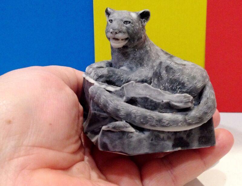 Mountain Lion marble chips realistic figurine Souvenirs Russia snow leopard
