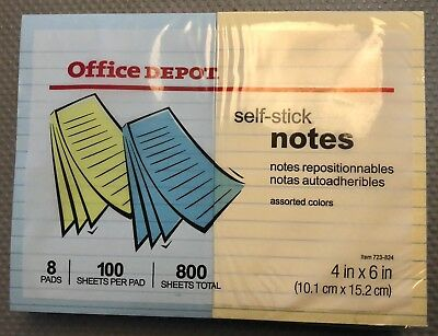 Sticky Notes Ruled 100 Shpad 4x6 Yellow Colors 5 Pads3 Pads Free