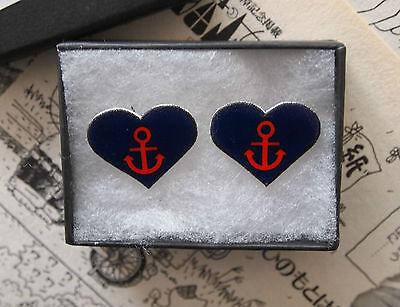 (Anchor Heart Tattoo Earrings - Rockabilly Vintage Studs Sailor Jerry Navy Punk)