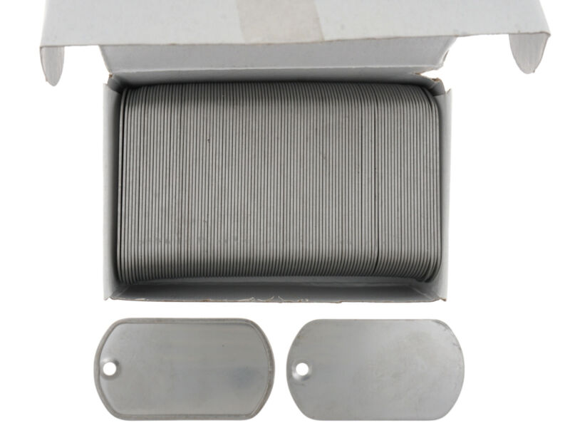 Box of 100 Stainless Steel Military Spec Army BLANK Dog Tags Matte(Dull) Finish