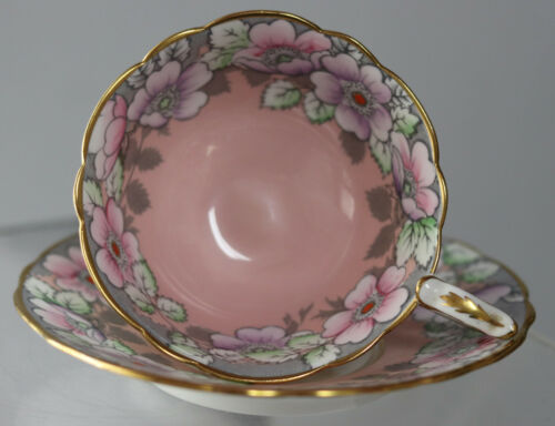 Vintage Royal Stafford Cup & Saucer Queen Mary England Bone China #7751 Rare