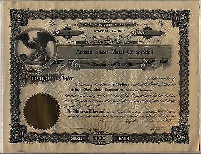 Artisan Sheet Metal Corporation Stock Certificate New York