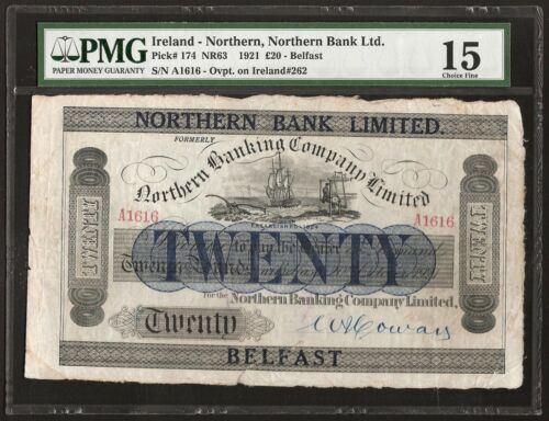 NORTHERN IRELAND 20 POUNDS 1921 P:174  F+