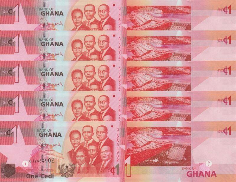 LOT, Ghana 1 Cedi (1.7.2015) p37f x 5 PCS UNC