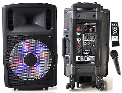 """1200W Professional 12"""" Speaker PA System Wireless Mic Bluetooth Rechargeable"""