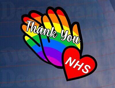 Car Sticker NHS CLAPPING HANDS Rainbow Novelty Van House Window Door Decal