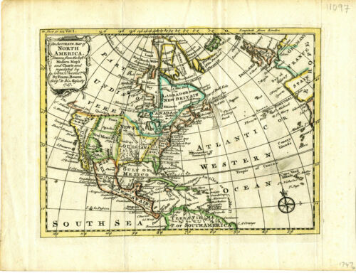 1747 Genuine Antique hand colored map North America. Quivira. by E. Bowen