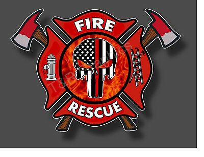 Fire Department Punisher Fire Rescue Sticker Decal EMS EMT 911 Fire Fighter USA