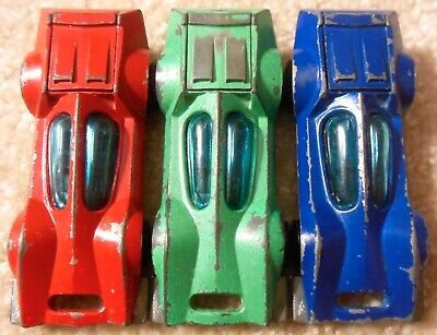 Vintage 1970s Mattel Redline Hot Wheels - Lot 3x BUGEYE - Red Green Blue Enamel