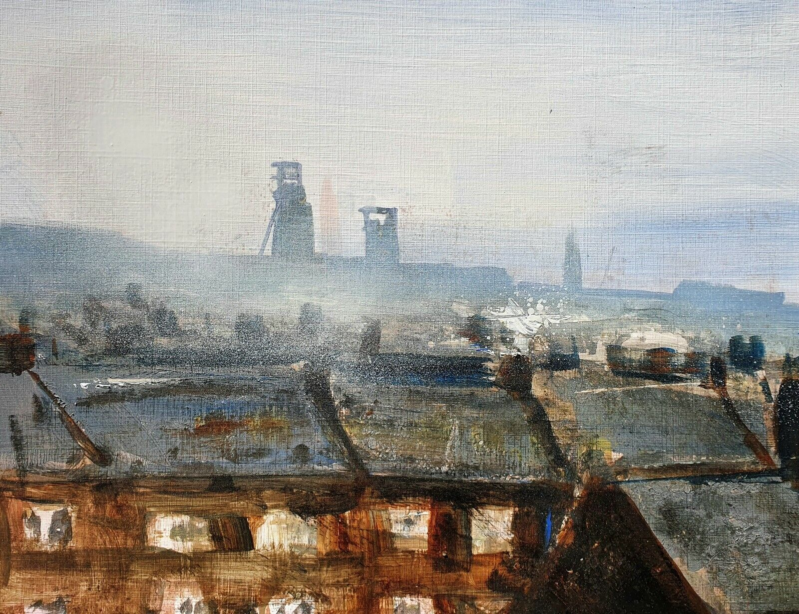 Industrial Scenes Z7. Original Mixed Media Painting on Paper