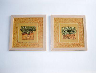Gilde Handwerk Bilder 2er Set Bild Kunst Holz Rahmen Wandbild Wohnzimmer Deko B9