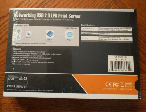 BRAND NEW and Sealed Monoprice Networking USB 2.0 LPR Print Server MS-NU62P11