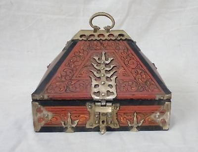 Antique Kerala Treasure Jewelry Box Wooden Mural Painted Brass Trinket Dowry box