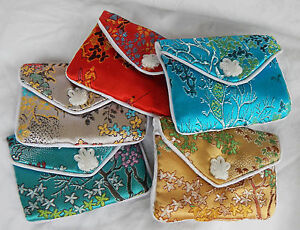 Chinese Embroidered Silk Coin Purse / Gem Bag - Assorted Colours - NEW