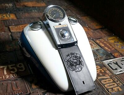 Harley Davidson Shovelhead Skull Black Softail Dyna Leather Gas Tank Bib Panel  Leather Tank Panel
