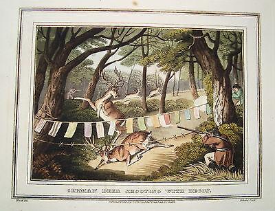 Hirschjagd Jagd Jäger sehr seltener altkolorierter Kupferstich in Aquatinta 1813