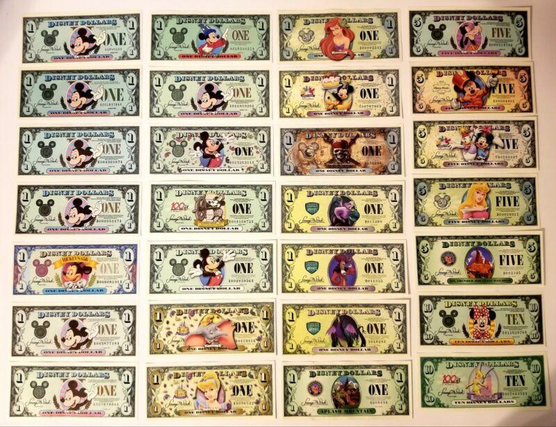 Disney Dollar Lot of 28 $1 $5 $10. Start your Disney Dollar Collection. Unused