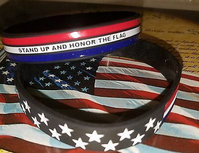 USA flag Silicone Bracelet Wristband. Military Police support Thin Blue Line