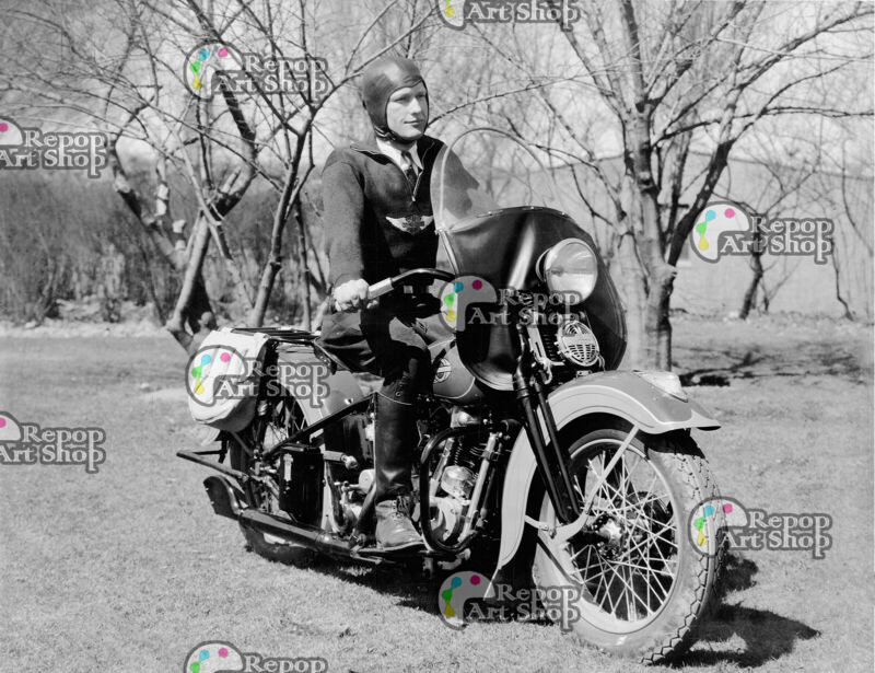 "Vintage Photo ""Harry Molenaar on his Demonstrator"" Harley-Davidson - 8x10"
