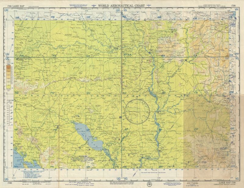1955 U.S. Air Force Aeronautical Chart or Map of Lake Sap, Cambodia