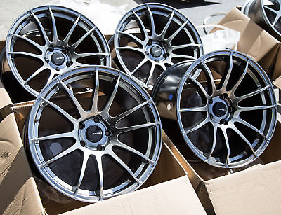 Hyper Black Rims (18x9.5 Avid1 AV20 5x114.3 +38 Hyper Black Rims Fits Civic TL Eclipse Wrx)