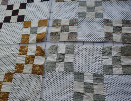 9251 16 antique 1870-80s Double 9 Patch quilt blocks, fab prints, star shirting1