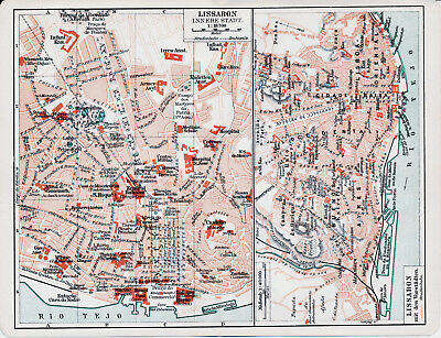 Lisboa Lissabon 1904 orig Stadtpläne, Karte + Reisef. (6 S) Cascaes Cintra Belem