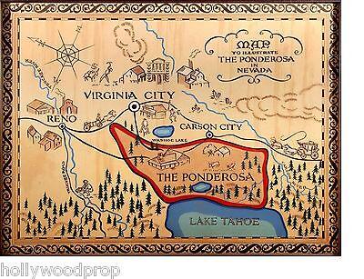 BONANZA THE PONDEROSA RANCH MAP POSTER CARTWRIGHTS WESTERN LAKE TAHOE NEVADA