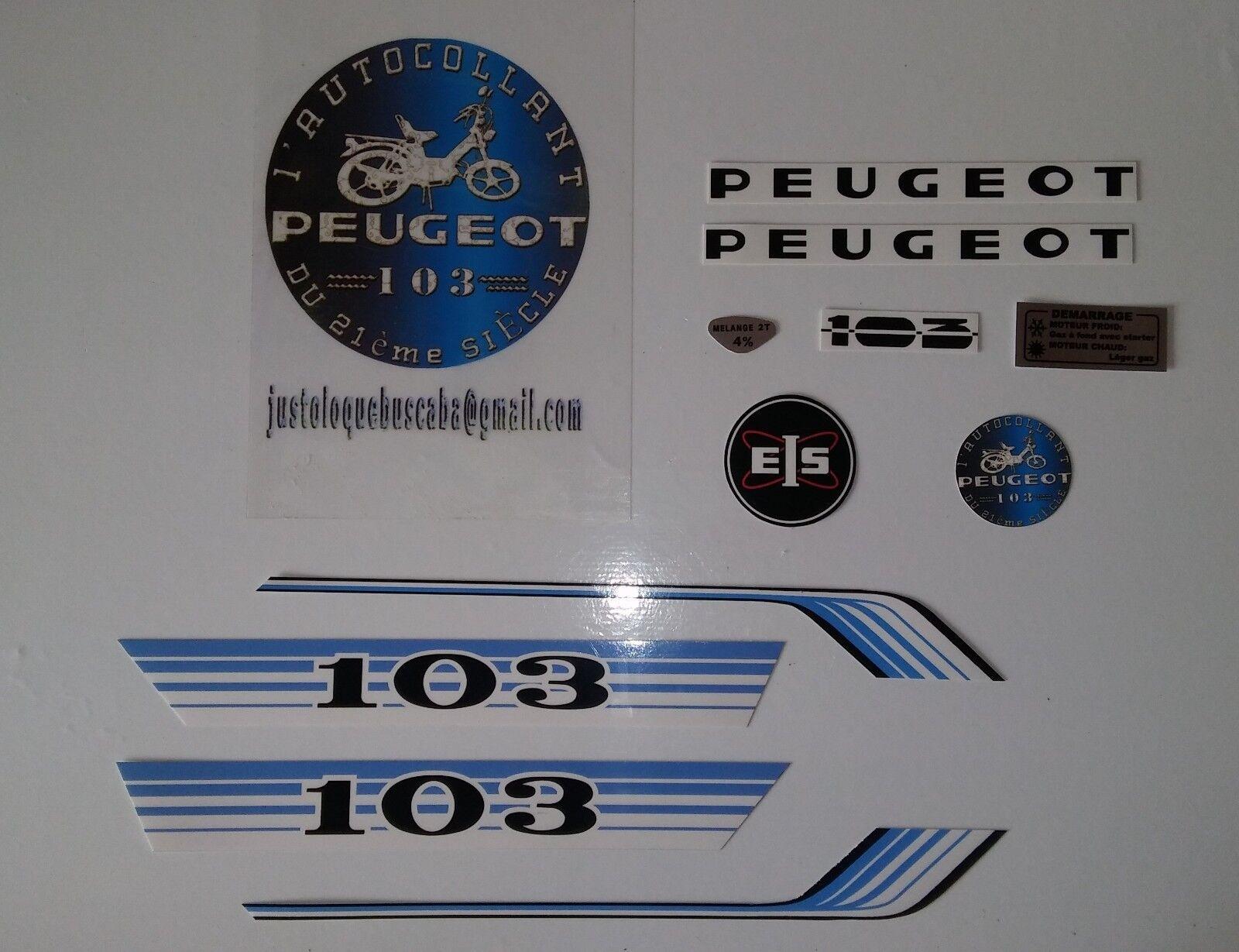 Autocollant Peugeot 103 Vogue Bleu.