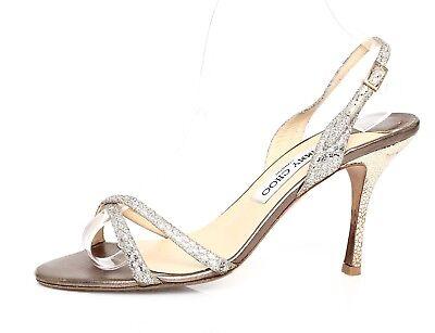 Jimmy Choo Women's Gold Metallic Leather Sandals Sz 39 EUR 1950