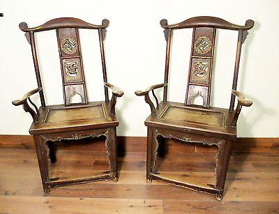 Antique Chinese High Back Arm Chairs (5494) (Pair), Circa 1800-1849