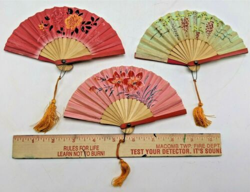 3 Vintage Mini Asian Japanese Folding Fans w/Tassels Flowers Geisha Kimono Women