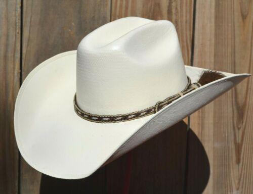 "3/8"" Braided Horsehair Hatband Single Side Tassel - Brown & White"