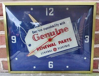 Vintage General Electric Genuine Renewal Parts Advertising Dealer Clock, NICE