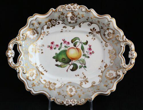 ANTIQUE 19th C. RIDGWAY Porcelain Dessert platter plate hand painted fruits 2023
