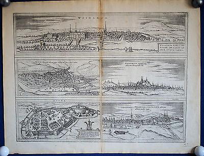 THÜRINGEN Stadtansichten Weimar Jena Erfurt Gotha Fulda Braun/ Hogenberg 1578