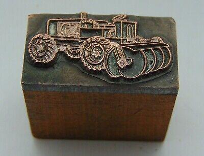 Vintage Printing Letterpress Printers Block Tractor With Plowing Disks