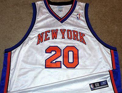 VTG AUTHENTIC ALLAN HOUSTON NEW YORK KNICKS NBA REEBOK HOME JERSEY 60 SEWN!