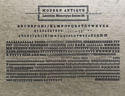 New Letterpress Type - 12 point Modern Antique