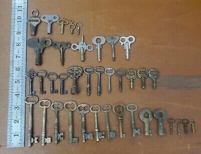 Lot Of 38 Vintage Brass And Steel Skeleton And Clock Keys