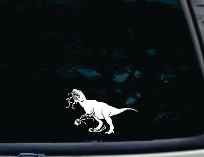 T-Rex eating stick figure family die cut decal in White - funny, bumper sticker