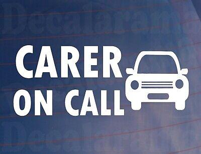 Car Sticker CARER ON CALL Health Worker Van Window Bumper Boot Door Decal
