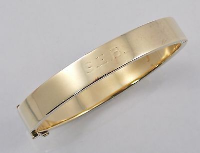Tiffany & Co. 14K Yellow Gold 10mm Hinged Bangle Bracelet 18.7g Monogram (#4942)